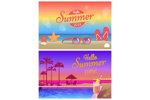 Hello Summer Time Commercial Bright Banners Set