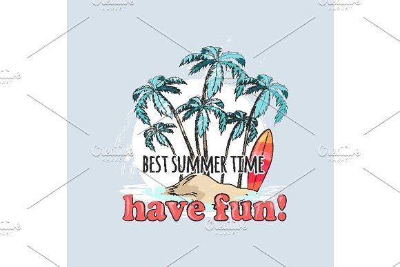 Have Fun In Summer Time Poster With Palms On Beach