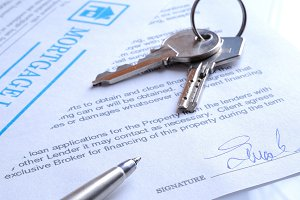 Mortgage contract signed closeup