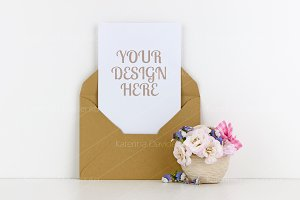 Postcard mockup craft paper envelope