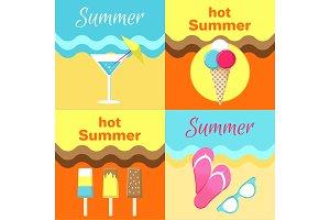Hot Summer Posters Set Martini Glass, Flip-Flops