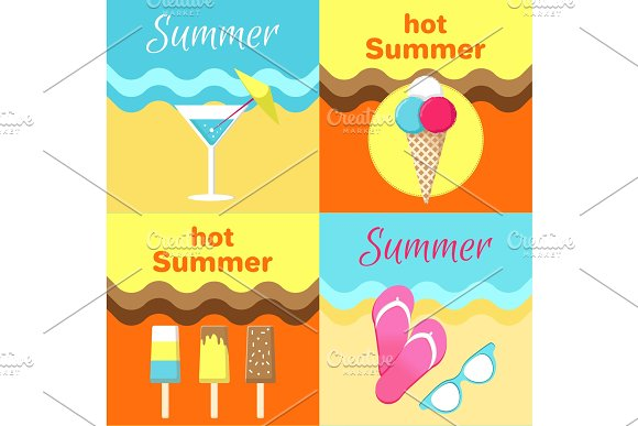 Hot Summer Posters Set Martini Glass Flip-Flops