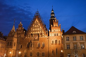 Old Town in Wroclaw City at Night