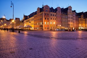 Wroclaw Old Town Square at Night