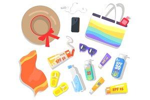 Summer Elements Beach Set Vector Illustration