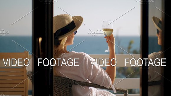 Woman Relaxing In Solitude She Drinking Wine And Enjoying Sea View