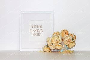 Frame mockup with a bouquet