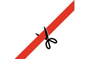 Scissors cut the red tape