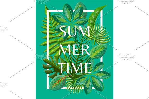 Summertime Background With Tropical Green Leaves