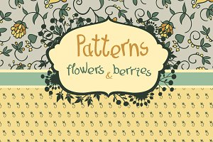 Set of patterns flowers and berries