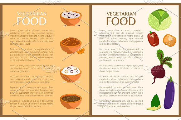 Vegetarian Food Posters Set Vector Illustration