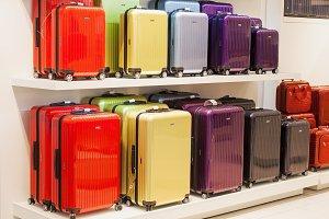 Colorful metallic luggage bags