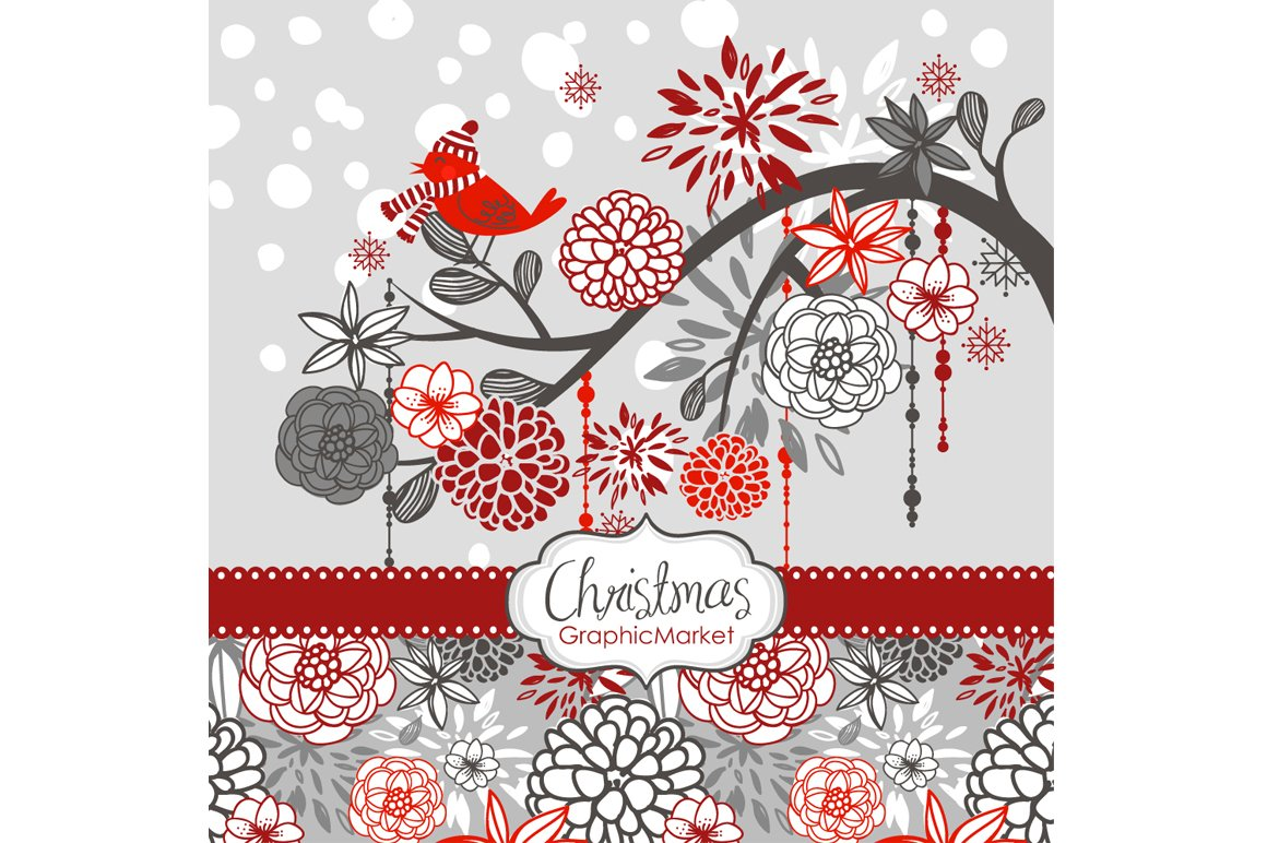 Christmas clipart bird on the branch ~ Illustrations ...