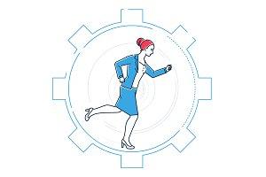 Businesswoman running in a gear - line design style illustration