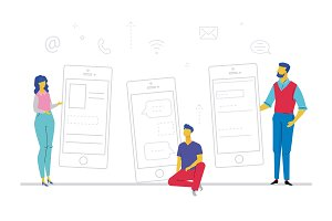 Businessmen with smartphones - flat design style colorful illustration