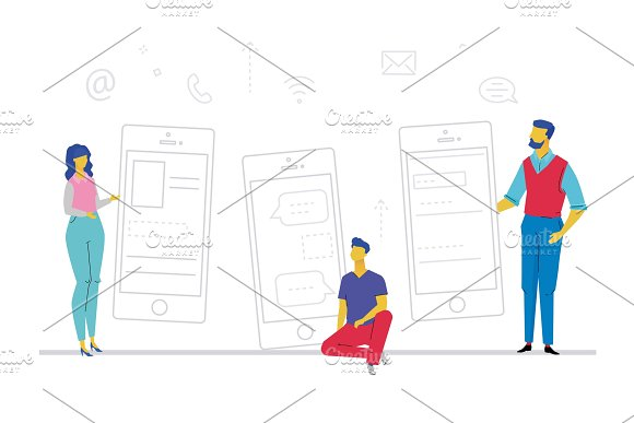 Businessmen With Smartphones Flat Design Style Colorful Illustration