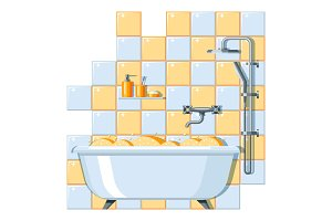 Illustration of bathroom interior.