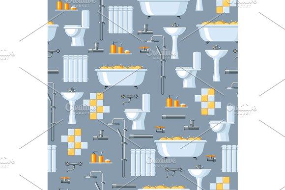 Bathroom Interior Plumbing Seamless Pattern