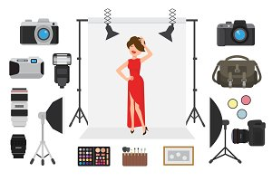 Photography vector photographing model character by professional photo camera and shooting photography woman or girl illustration set of digital equipment lens light isolated on white background