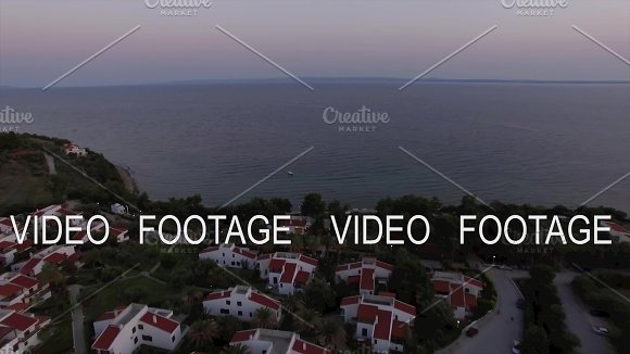 Aerial Scene Of Sea And Cottages On The Shore Trikorfo Beach Greece