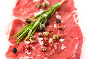 Raw beef steak