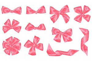 Set of pink satin gift bows and ribbons