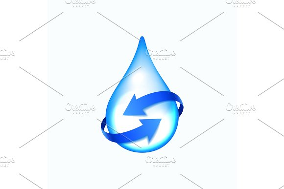 Water Drop With Blue Arrows