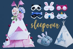Watercolor Sleepover Clipart Set