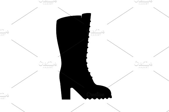 Women's Boots Icon Black On White