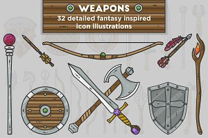 Fantasy Weapon Vector Icons