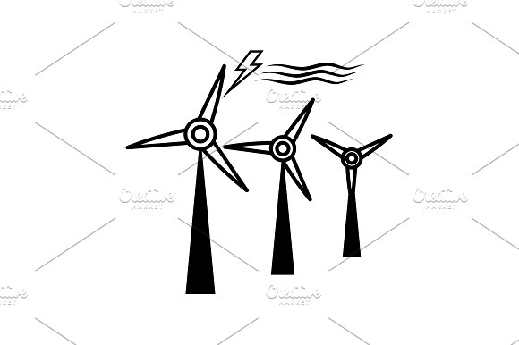 Wind Turbine Icon Black On White