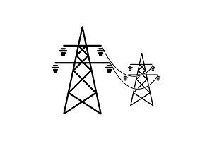 Power lines icon black on white