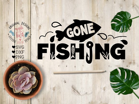 Gone Fishing Cut File