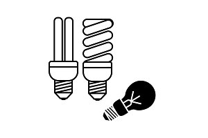 Energy-saving lamp icon black