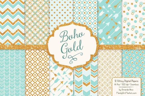Aqua Bohemian Glitter Digital Paper…