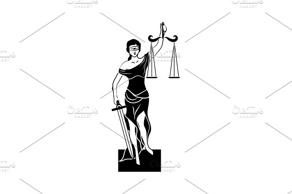 Themis Icon Vector Black On White