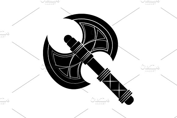 Double-sided Ax Icon Black On White