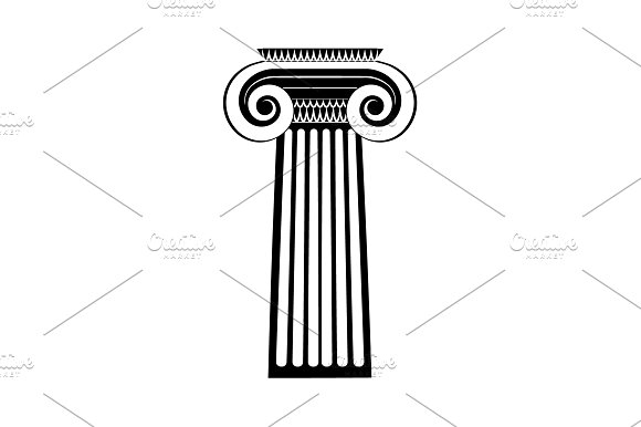 Greek Column Icon Black On White