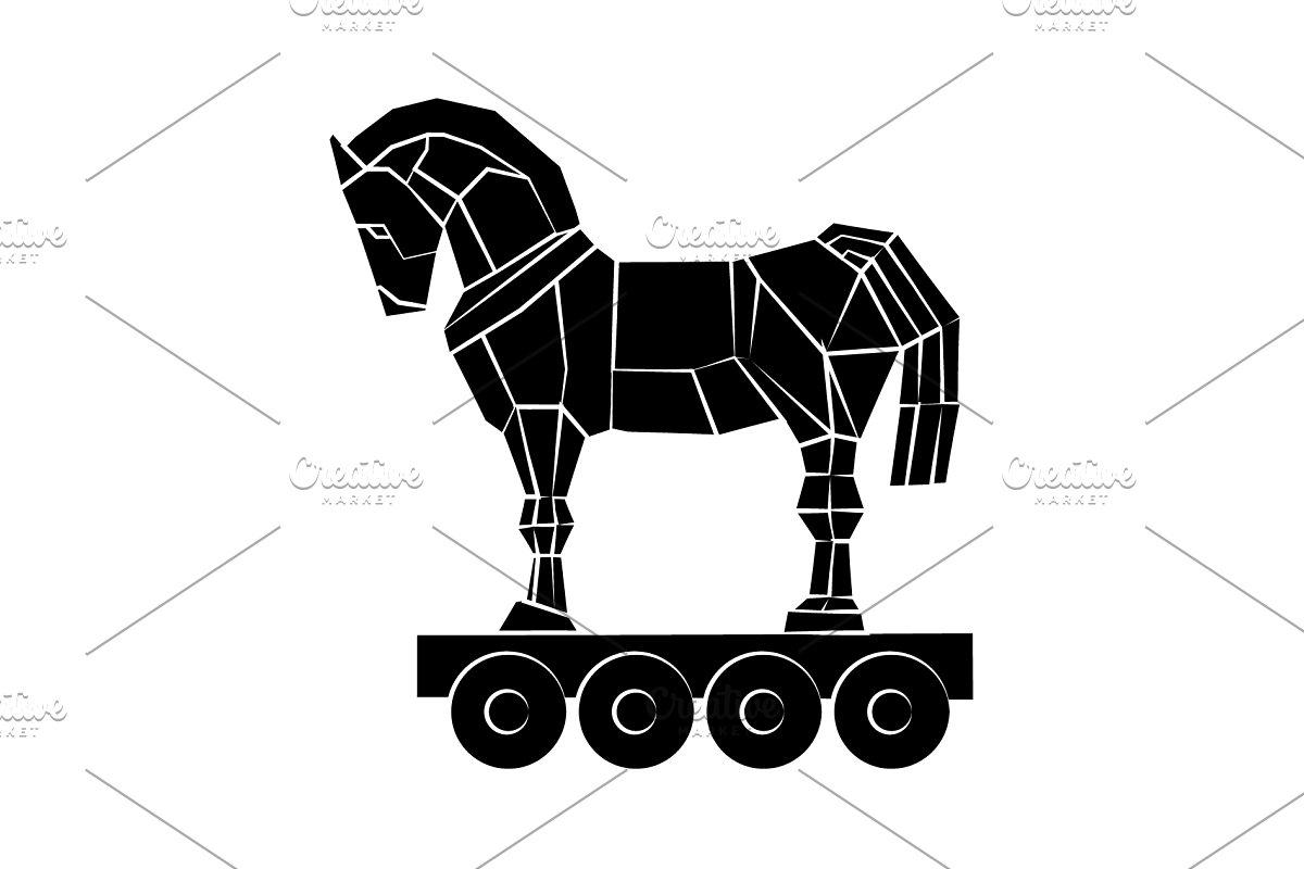 Trojan horse icon black on white