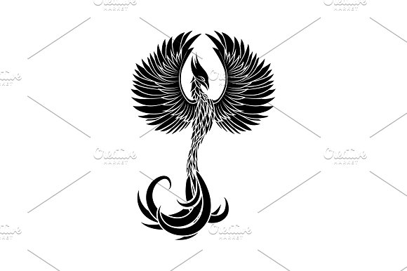 Phoenix Icon Vector Black On White