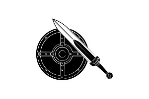 Round shield and sword icon black
