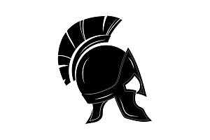 Greek helmet icon black on white