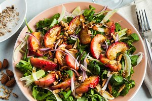summer, very tasty salad with peaches, sweet onions and arugula