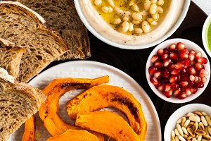 vegan appetizer snack from hummus of white cannellini beans and