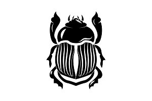 Scarab icon vector black on white
