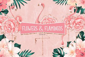 Tropical Flowers & Flamingos ClipArt