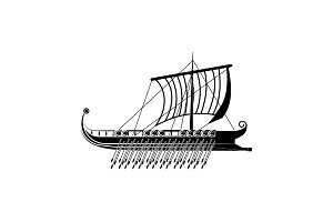 Trireme icon. Galley icon black