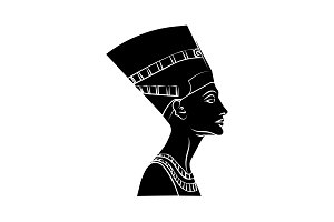 Nefertiti icon vector black on white