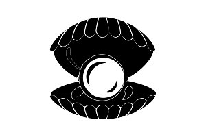 Pearl in the shell icon black