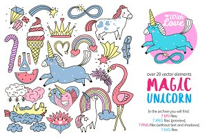 Magic Unicorn Child Patches Set